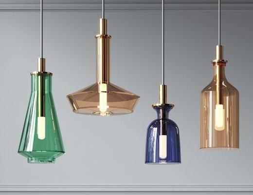 现代彩色玻璃小吊灯组合
