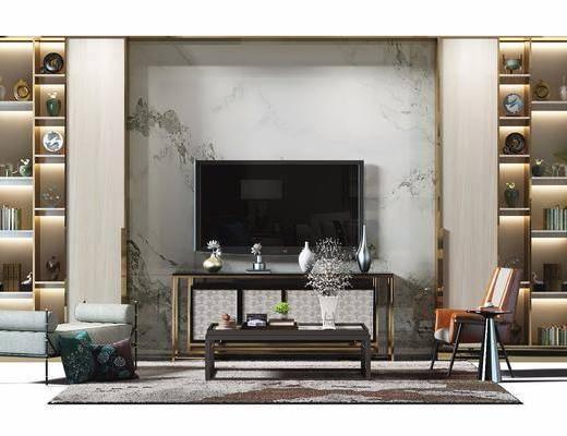 现代, 新中式, 电视墙, 装饰柜, 置物柜, 单椅, 休闲椅, 茶几, 端景台