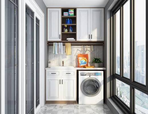 柜子, 窗户, 推拉门, 洗涤用品, 植物