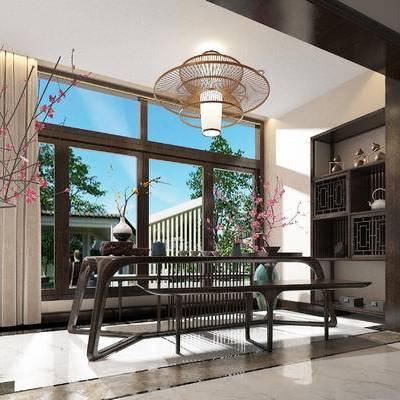 中式茶室, 中式吊灯, 中式壁橱, 中式, 茶室, 新中式, 餐桌, 茶具