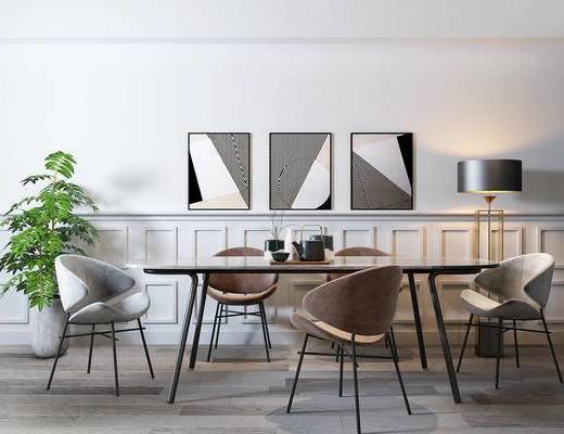 餐桌, 桌椅组合, 装饰画, 植物, 落地灯