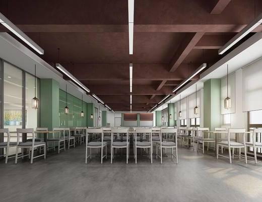 餐厅, 饭堂, 食堂, 桌椅, 椅子, 吊灯