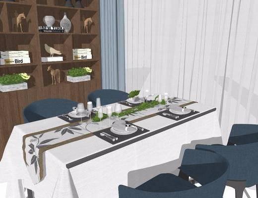 餐桌, 桌椅组合, 餐具组合, 置物柜
