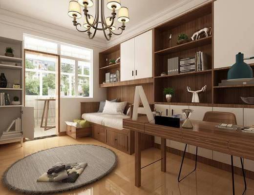 书房, 书桌椅, 装饰柜, 置物柜, 书柜, 吊灯