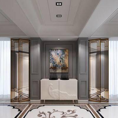 玄关, 走廊, 过道, 边柜, 装饰画, 新古典