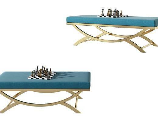 现代金属布艺创意沙发凳