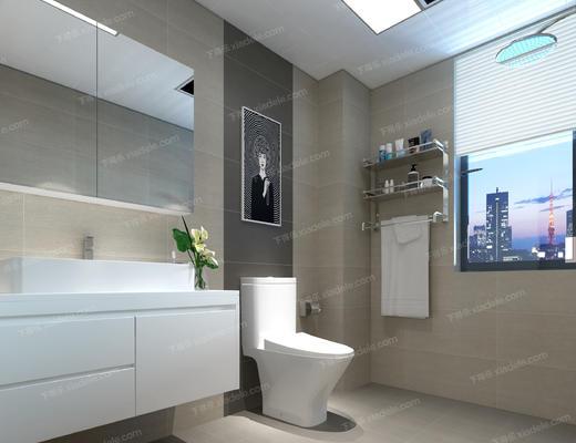卫生间, 便器, 洗手台, 日常用品, 卫浴