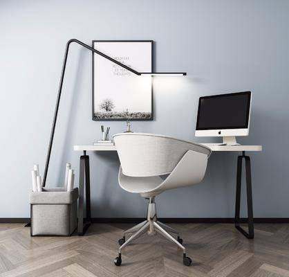桌椅组合, 书桌, 单人椅, 办公桌, 办公椅, 落地灯, 装饰画, 挂画, 电脑, 摆件, 装饰品, 现代