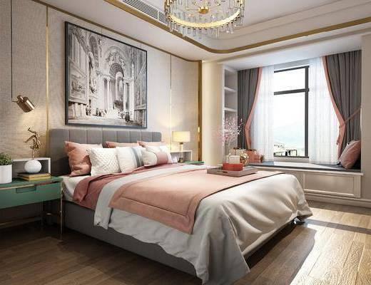 卧室, 双人床, ?#39184;?#26588;, 吊灯, 装饰画, 挂画, 摆件, 装饰品, 陈设品, 现代