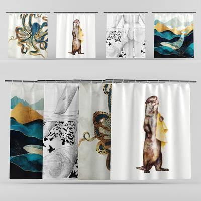 北欧浴室帘, 北欧, 帘子, 浴室帘