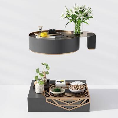 金属茶几, 圆形茶几, 花艺器皿饰品, 摆件组合, 现代