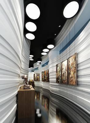 走廊, 装饰画, 挂画, 边柜, 摆件, 现代, 双十一