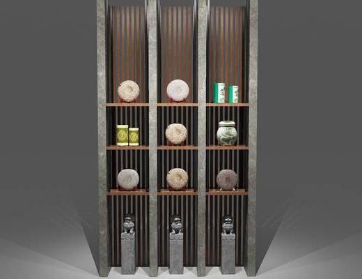 新中式置物架, 置物架, 装饰柜架