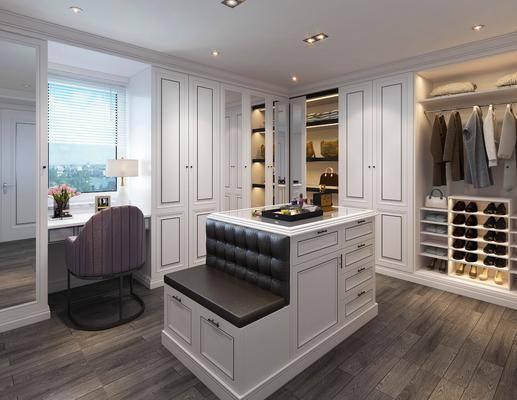 衣帽间, 简欧, 衣柜, 衣服, 简欧衣柜, 中岛柜, 沙发, 卡座, 摆件, 装饰品, 鞋子
