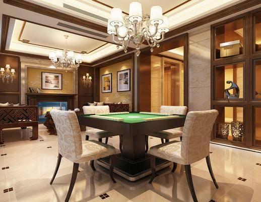 棋牌室, 娱乐室, 茶几, 壁灯, 装饰画, 吊灯, 边柜, 摆件组合
