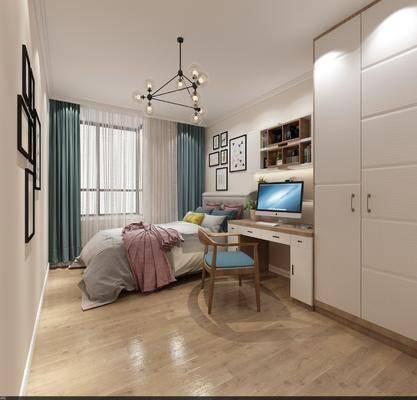 现代卧室, 北欧卧室, 双人床, 书桌椅, 衣柜, 卧室