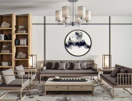 多人沙发, 单人椅, 茶几, 茶具, 边几, 台灯, 墙饰, 吊灯, 展示柜