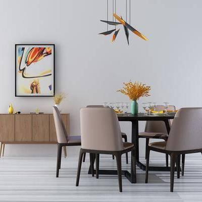 现代餐桌边柜组合, 现代, 餐桌, 椅子, 餐边柜, 边柜, 花瓶, 现代吊灯
