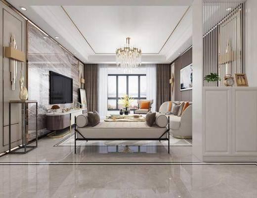 客厅, 现代客厅, 沙发组合, 后现代, 餐桌椅, 客餐厅, 桌椅组合, 沙发茶几组合, 边柜, 电视柜, 装饰柜, 吊灯, 壁灯, 现代