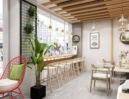 奶茶店, 吧台, 吧椅, 单人椅, 餐桌, 餐椅, 吊灯, 装饰画, 挂画, 盆栽, 休闲椅, 摆件, 装饰品, 陈设品, 北欧