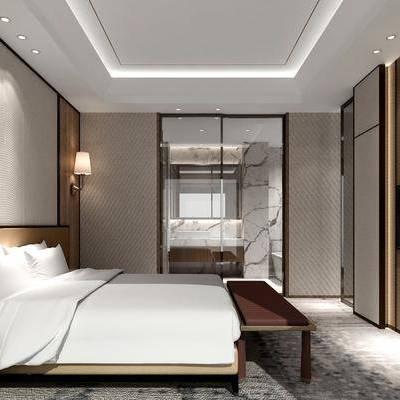 新中式酒店客房套间, 新中式, 房间, 客房, 床, 壁灯