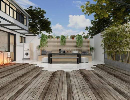 庭院院子, 树木, 绿植植物, 竹子, 盆栽, 中式