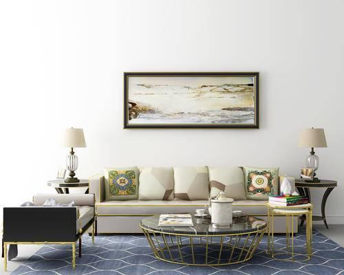 沙发, 茶几, 椅子, 装饰画, 台灯, 抱枕, 摆件