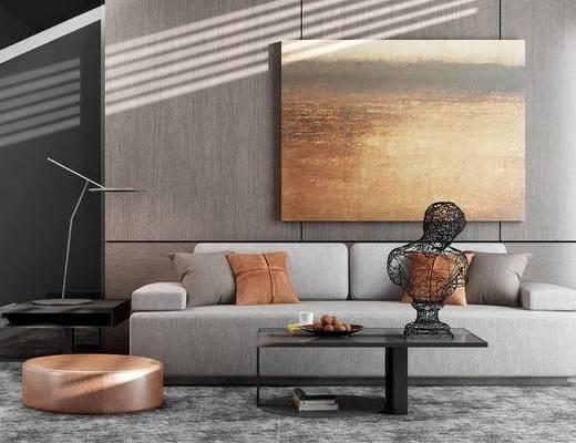 客厅, 沙发, 茶几, 装饰画, 台灯, 摆件, 地毯, 抱枕