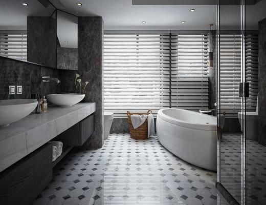 浴缸, 洗手台, 卫浴, 卫生间, 现代