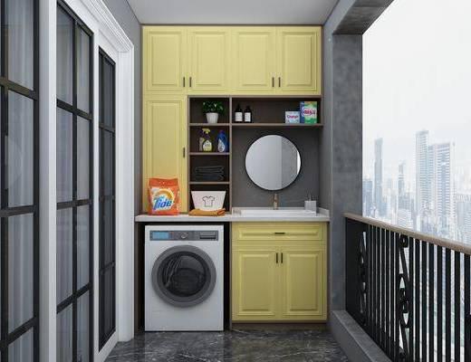 阳台花园, 阳台露台, 洗衣机组合, 洗浴用品, 洗手台组合, 现代
