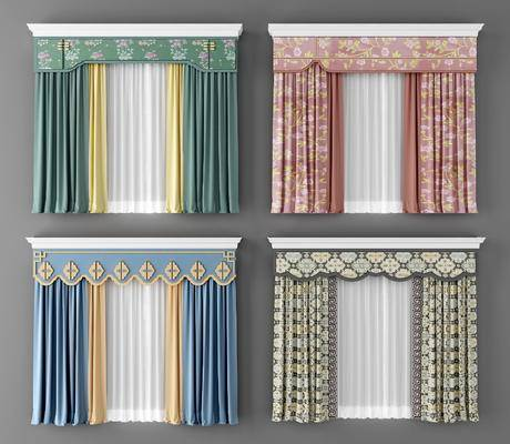 新中式窗帘, 窗帘, 布艺窗帘, 现代