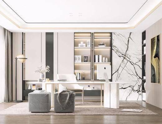 桌椅組合, 書柜, 書架, 背景墻, 裝飾畫, 擺件組合, 落地燈