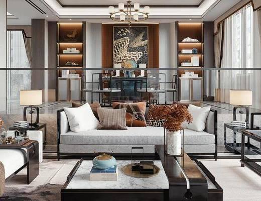 沙发组合, 茶几, 摆件, 台灯, 边几, 装饰画, 吊灯
