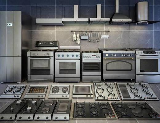 烤箱, 抽油烟机, 灶台, 炉灶, 电炉, 家电