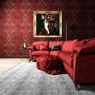 沙发组合, 多人沙发, 圆弧沙发, 边几, 人物画, 装饰画, 挂画, 脚踏沙发, 欧式