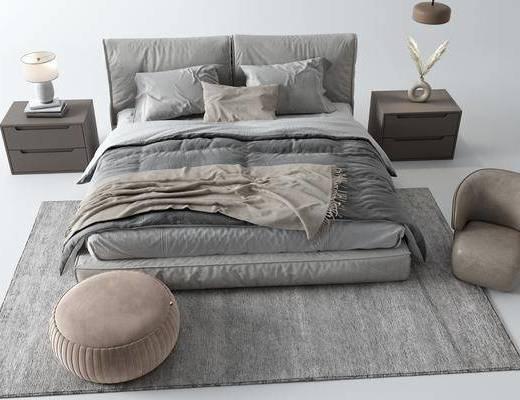 双人床, 床具组合, 地毯, 衣柜