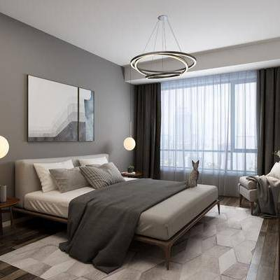 卧室, 双人床, 单人沙发, 边柜, 吊灯, 摆件, 装饰画, 北欧