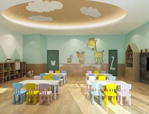 幼儿园, 桌椅组合, 置物柜, 墙饰