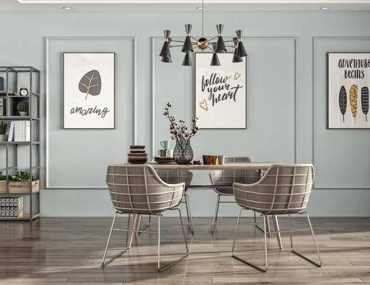 餐桌, 桌椅组合, 桌花, 装饰画
