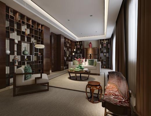 书房, 中式书房, 沙发组合, 中式沙发, 单人沙发, 乐器