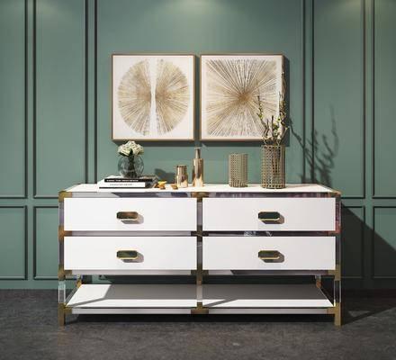 装饰柜架, 边柜, 装饰品, 摆件, 现代装饰柜组合, 花瓶, 挂画, 现代, 轻奢