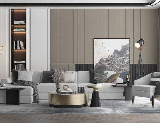 沙发, 茶几, 电视背景墙, 吊灯, 装饰画, 单椅