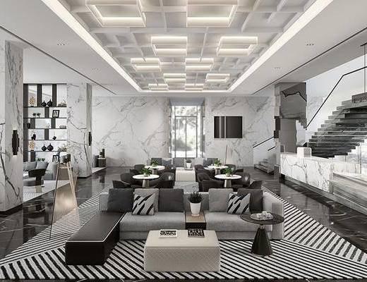 售楼处, 接待区, 桌椅组合, 摆件组合, 沙发组合