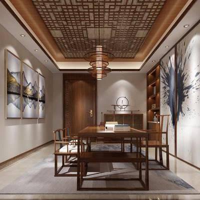 书房, 书桌, 单人椅, 装饰画, 装饰柜, 挂画, 摆件, 边柜, 吊灯, 新中式