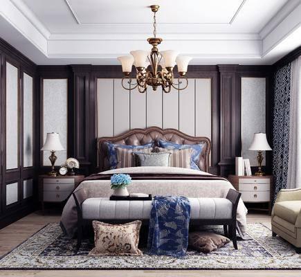 双人床, 吊灯, 床头柜, 床尾踏, 单椅