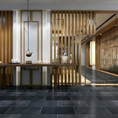 茶馆, 茶室, 新中式, 茶具, 案几, 条案, 摆件, 瓷器, 隔断, 茶桌, 单椅, 书柜, 装饰画, 挂画