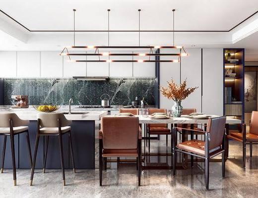餐厅, 餐桌, 花瓶, 餐具组合, 吊灯