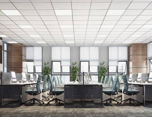 办公区, 现代办公区, 办公室, 办公桌, 单椅, 现代