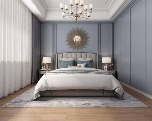 臥室, 床具組合, 臺燈, 吊燈, 墻飾, 現代