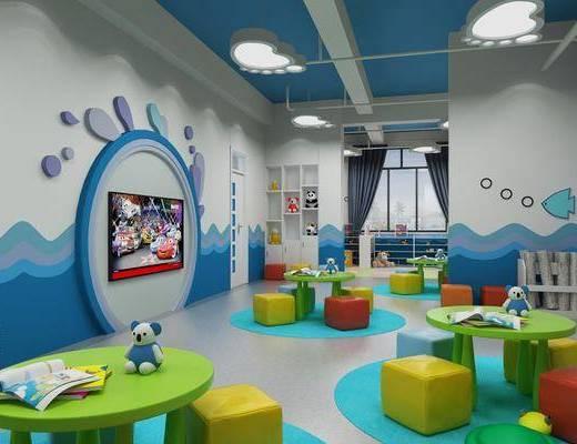 活动室, 幼儿园, 桌子, 凳子, 玩具, 桌椅组合, 现代